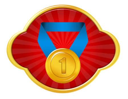 red and blue medal icon with gold edge over white background Stock Photo - 9853562