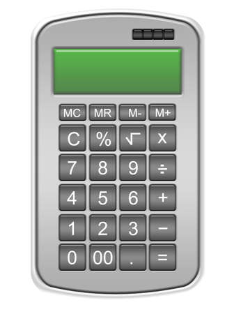 gray calculator isolated over white background.illustration Stock Illustration - 9853620