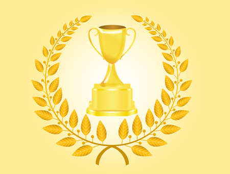 gold trophy and laurel wreath over cream background photo