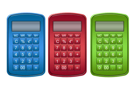 blue, red and green calculator isolated over white background photo