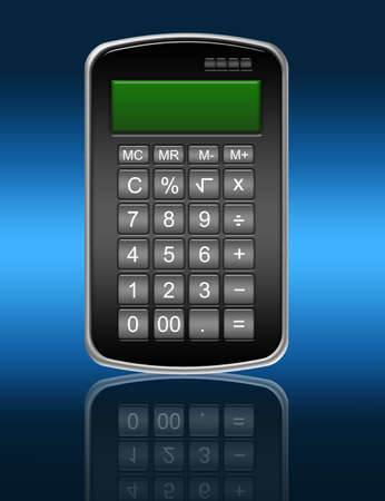 black calculator with reflection over blue background Stock Photo - 9853625