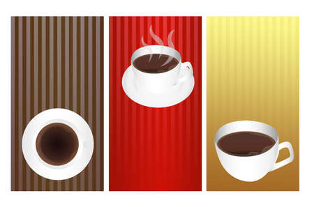 brown, red and gold coffee labels isolated over white background photo