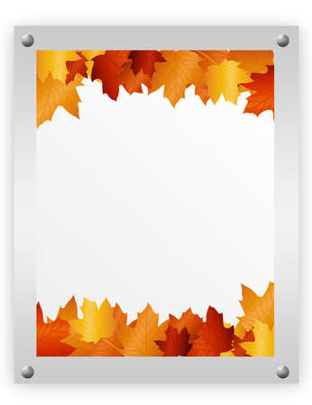 brown, gray and white advertising autumn leaves. over white background  photo