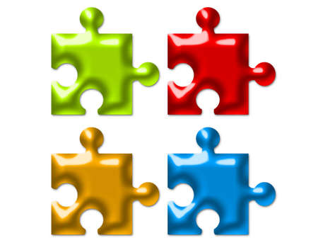 red, green, orange and blue puzzle isolated over white background