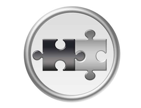 gray and black puzzle with silver metallic edge isolated over white background Stock Photo - 10032963