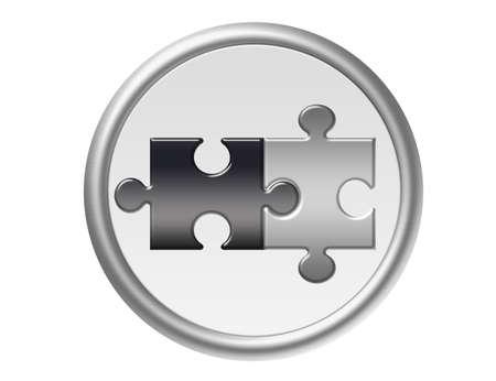 rompecabezas gris y negro con plata borde metálico aislado sobre fondo blanco Foto de archivo
