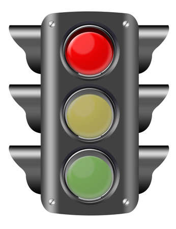 red traffic light: black and red traffic light isolated ove white background. illustration