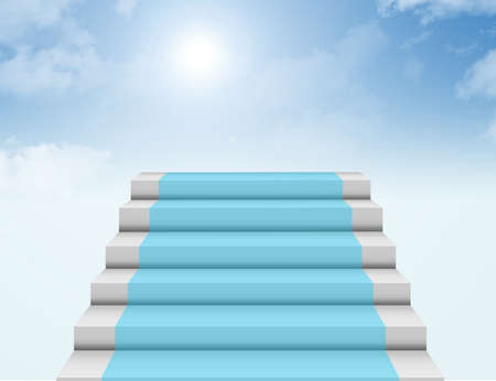 staircase: blue, white and gray steps to heaven background. illustration Stock Photo