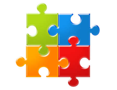 green, blue, orange and red puzzles isolated over white background photo