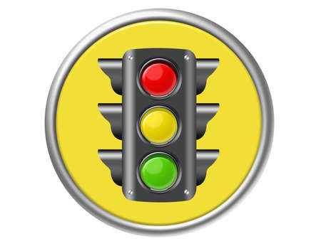 yellow, red, green traffic light button isolated over white background photo