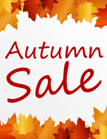 brown and gold autumn sale over white background. illustration illustration