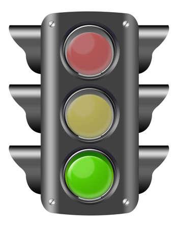 black traffic light on green isolated over white background. illustration  illustration