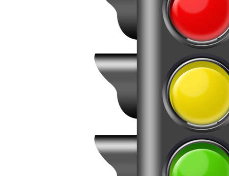 city lights: black, red, yellow and green semaphore close up isolated over white background
