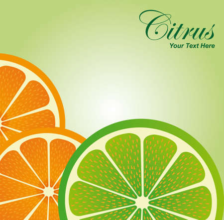 citric: slices orange and lemon over green white background. illustration Illustration