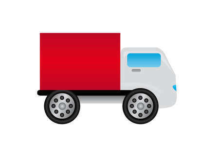 red, blue, black and white truck isolated over white background Vector