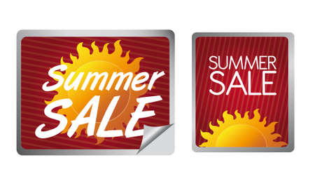 red, orange and yellow summer sale label isolated over white background Vector