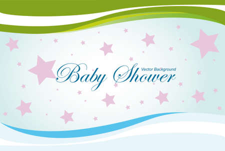 baby shower vector background, blue, green and pink colors Stock Vector - 9945340