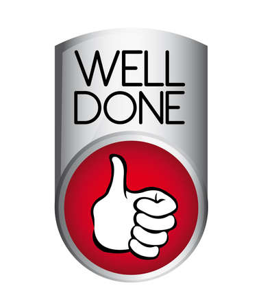 done: silver and red well done button isolated over white background