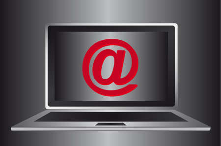 arroba: gray computer with arroba over gray background. illustration