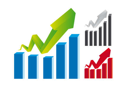 ganancias: gr�ficos del negocio de verde, azul, rojo, gris y negro aisladas sobre fondo blanco Vectores