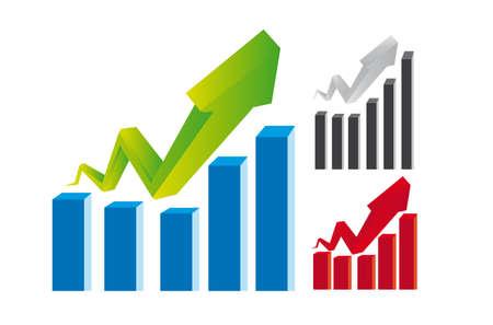 ertrag: gr�n, blau, rot, grau und schwarz Business-Grafiken isoliert �ber wei�em Hintergrund