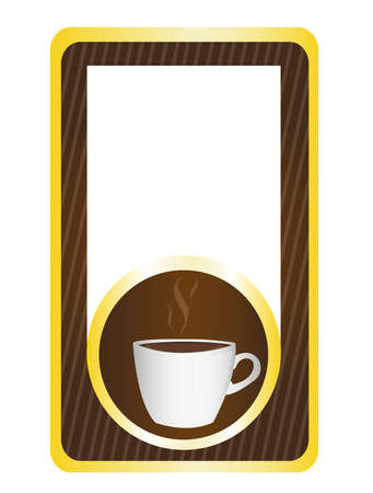 coffeecup: brown and gold label with coffe cup isolated over white background Illustration