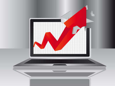 red arrow and gray computer over gray background. illustration Vector