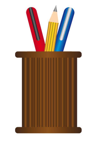 brown pen holder with blue, red an yellow pens isolated over white background Vector