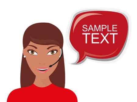 call center woman: recepcionista con burbuja de pensamiento aislado sobre fondo blanco