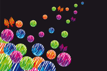 yellow, violet, green and orange butterfly and circles background. ilustration Stock Photo - 10033005