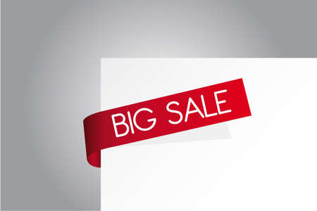 discount banner: red and white big sale paper over gray and white background Illustration