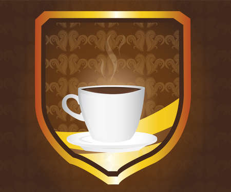 coffe break: brown and gold coffe emblem over brown background. illustration