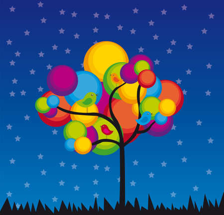 night bird: violet, red, yellow, green, green tree over blue and white background