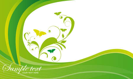 go green background: green wave with green ornaments with butterfly over white background