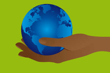blue planet over hand over green background. illustration Stock Vector - 10032992