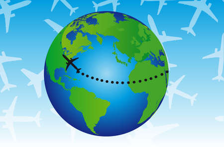 jetliner: green and blue earth with black plane over blue and white background Illustration