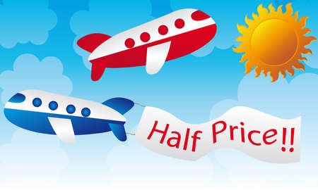 blue and red cartoons planes over sky with sun background Vector