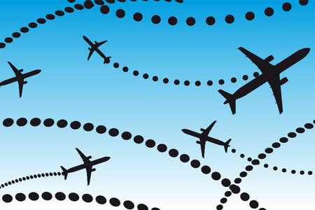flightpath: black travel man over blue and white background. illustration