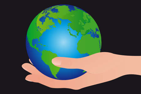 green and blue earth and hand isolated over black background Vector