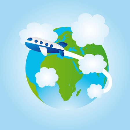 air freight: terra, blu e verde e aereo blu su sfondo blu.
