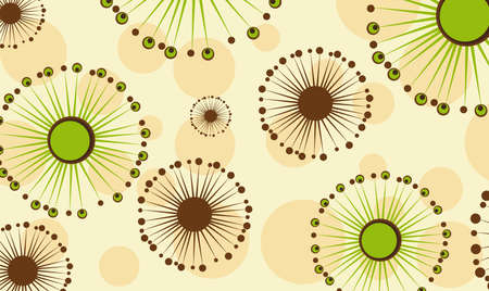 green and brown abstract flowers background. illustration Vector