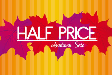 half price: violet and red leaves over orange and yellow background.