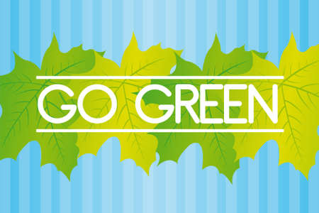 green leaves with go green text over blue lines background  Stock Vector - 10110140