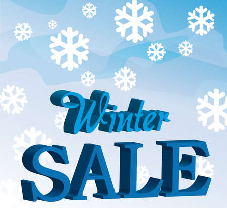 blue and white winter sale with snow over sky background.