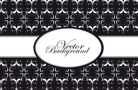 black and white ornaments with frame background.  Vector