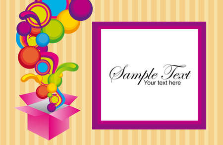 colors surprise box with violet and white frame background . illustration Stock Vector - 10110129