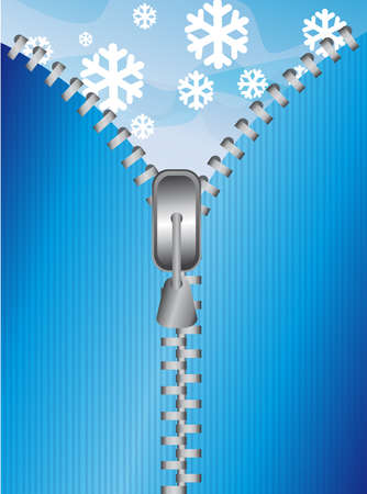 blue zipper over sky with snow background.  Vector
