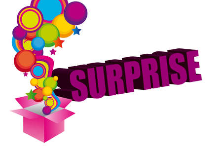 illustation: violet, pink, yellow, blue, green surprise box background. illustation
