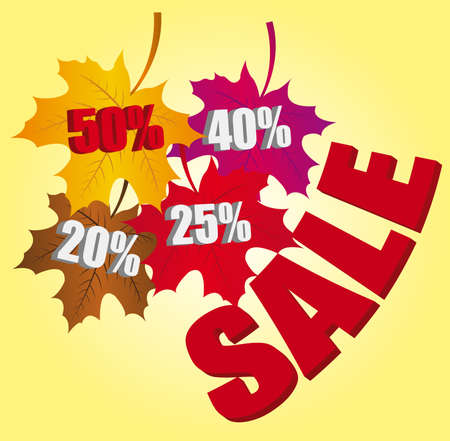 gold,violet,brown and red leaves autumn discount sale background Vector