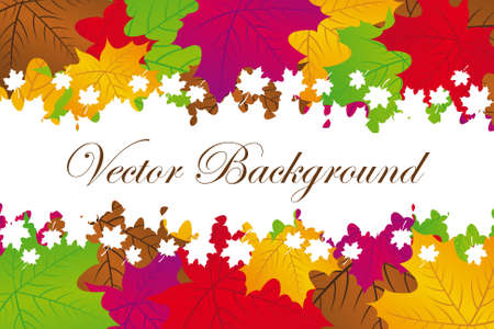 violet,red,brown,green,gold leaves autumn with white frame background Stock Vector - 10110246